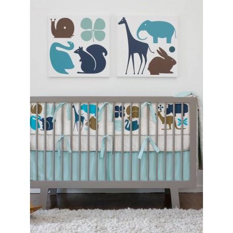 DwellStudio Crib Set - Gio Aqua